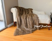 "4' x 5' or 48"" x 60""  Brown Feather Ostrich Exotic Fur Throws Bird Paradise Feather Animal Print Faux Fur Comforters Home Decor Accent Mink"