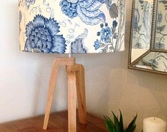 Lamp Shade, Lampshade Hampton's Decor, Blue Decor Blue and White Floral Cylinder Lampshade, Barrel Lampshade.