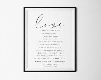 Love is patient, Love is kind, Bible Verse Print, 1 Corinthians 13 : 4-8, Bible Print, Bible Art, Scripture Printable, Christian Print