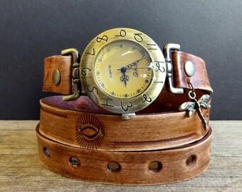 Rustic women's wrist watch, Brown leather watch, Dragonfly watch, Leather wrap watch, wrap bracelet,