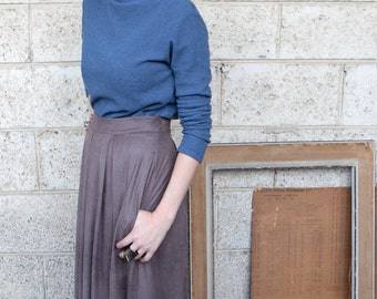 40% off Mocha vegan leather midi skirt with pockets, pleated midi skirt, high waisted pleated skirt, high waisted skirt