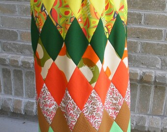 Vintage Mod High Waisted Patchwork Maxi Skirt / 70's Mod Skirt / Hippie Skirt