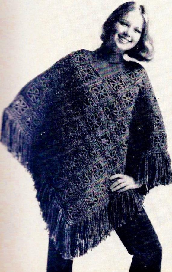 Knitting Pattern Poncho Bulky Yarn : DIY Easy Bulky Poncho PDF Vintage Crochet by MomentsInTwine