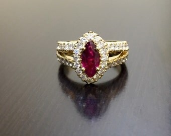 18K Yellow Gold Ruby Diamond Engagement Ring - 18K Gold Diamond Marquise Ruby Wedding Ring - 18K Halo Ruby Diamond Ring - 18K Halo Ruby Ring