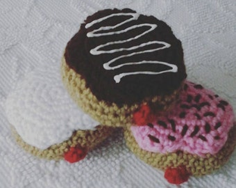 Jelly Donut Stuffed Amigurumi Photo Prop, Play Food, Pretend Play, Stuffed Doughnut, Donut Plush