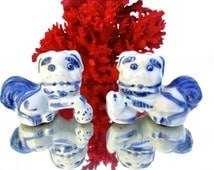 Vintage Blue & White Porcelain Foo Dog Figurines || Male+Female Shishi Lions || Hand Painted Chinese Protection Statues