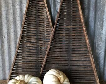Antique Wood Flower Drying Rack // Vintage Industrial Art // Wall Art // Repurposed Art // Wall Decor // Pair