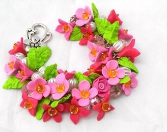 Jewelry Bracelet, Polymer Clay Flower Charm Handmade