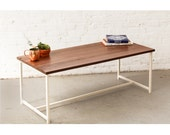The Flapjack Coffee Table - Walnut with White Powder Coated Steel - Walnut, Ash, Maple Solid Wood
