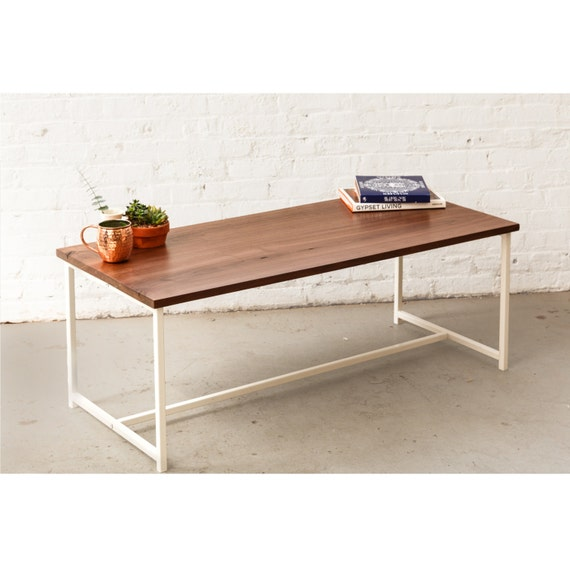 Fabricated Steel Coffee Table: The Flapjack Coffee Table Walnut With White Powder Coated