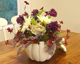 Flower Arrangement, Fall Table Centerpiece, Silk Flower Arrangements, White Pumpkin Centerpiece, Thanksgiving Decor Housewarming Gift