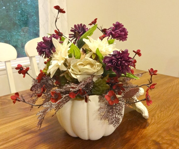 Flower arrangement fall table centerpiece silk