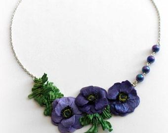 "Necklace "" Indigo Anemones """