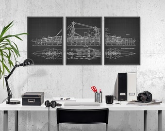 Blueprint etsy hms hood battlecruiser art poster set of 3 royal navy warship the mighty hood malvernweather Choice Image