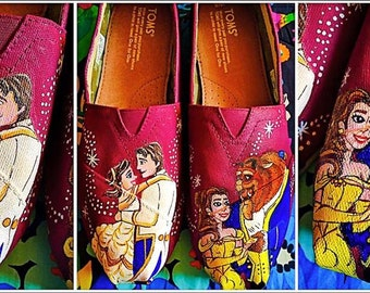 Custom painted Beauty and the Beast Wedding Toms. Designed and personalized just for you!