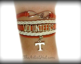 Free Shipping!!Tennessee VOLUNTEERS Infinity bracelet with T Charm