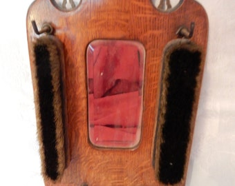 Vintage Butler's Hanging Valet Brush Set with Mirror