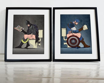 Batman and Captain America On the Toilet Poster Wall Art Prints