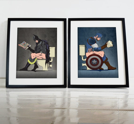 Batman and captain america on the toilet poster wall art Captain america wall decor