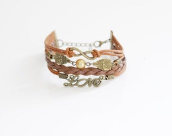 Infinity Owls Love Brown Cord Bracelet