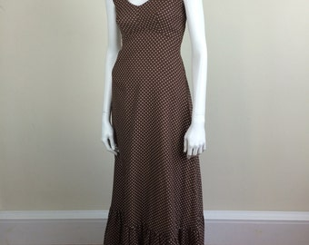 Bianchi brown dotted empire waist maxi dress w/ cover-up 70's