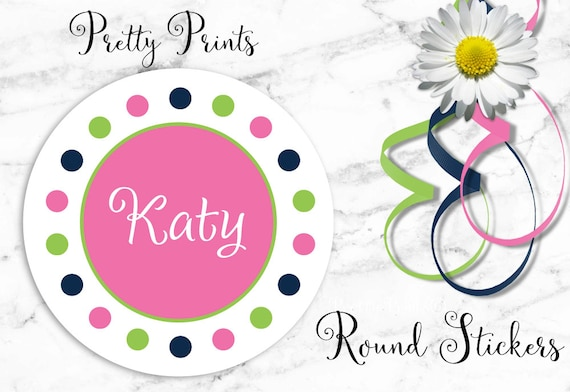 Personalized Stickers - Dots - Pink - Lime Green -  Navy - Multi-colored - Set of 12 - Round Labels - Personalized Labels - Tags - Stickers