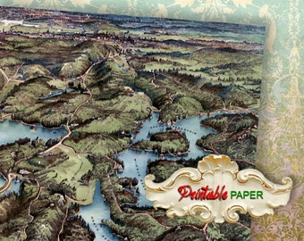 """OLD MAP - 2 Sheets 12""""x12"""" Printable wrapping paper for Scrapbooking, Craft - Download and Print"""