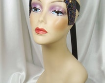 Aurora Borealis and Gold 1920s Headpiece, Cleopatra Inspired Headpiece, Queen Nefertiti Crown, Egyptian Crown