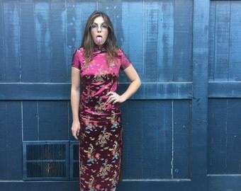 Magenta Asian Silk Embroidered Midi Dress