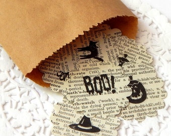 Vintage Dictionary Scalloped Punches. Scalloped Die Cuts. Haloween Die Cuts. Embellishment Kit. Halloween Scrapbook. Journal Ephemera.