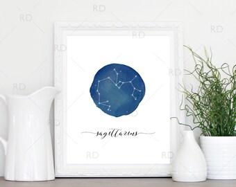 Sagittarius Constellation Zodiac - PRINTABLE Wall Art / Zodiac Constellation Wall Art / Zodiac Art by Month / Astrological Art Printable