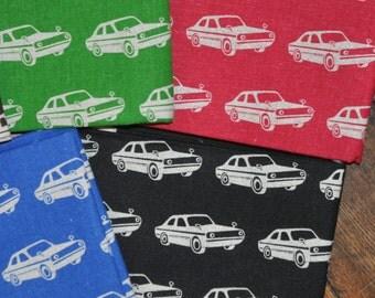 Echino 4 FQ Bundle Cars - Red, Green, Blue, Black - Etsuko Furuya - Cotton Linen Fabric