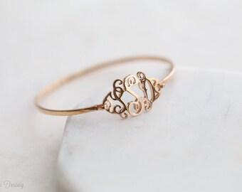 SALE 20% Monogram Bangle - Personalized Name Bracelet - Custom Monogram Bracelet - Mom Gift - Sterling Silver