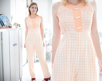 70s Peach Jumpsuit Plaid Checkered Crinkle Stretch Bow Tie Decoration Kawaii Romantic Short Sleeve Empire Waist Romper One Piece S Small