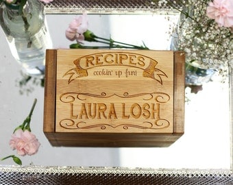 Recipe Box w/ Dividers, Custom Engraved Recipe Box, Vegetables, Mom Grandmother Chef Foodie Housewarming Gift, Bamboo Wood --6805
