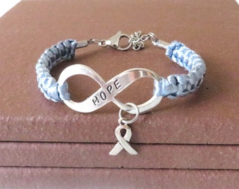 Periwinkle Awareness Ribbon HOPE Esophageal Cancer Stomach Cancer Eating Disorders Pulmonary Hypertension Charm Bracelet
