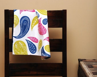 Linen Kitchen Tea Towel White, Green and Blue Paisley