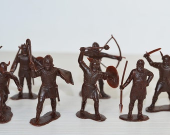"7 Vintage Soviet toy soldiers ""Vikings"" USSR in different outfit and various armed made in soviet union at 70th."