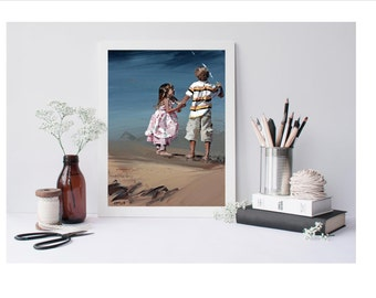 limited edition art print, impressionist art, beach art, siblings, brother and sister, 'Little Sister II'. Childhood Memories.