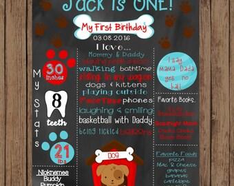 Digital Puppy First Birthday Chalkboard, Puppy Chalkboard Sign, 1st Birthday Chalkboard, First Birthday Chalkboard Sign, Puppy Sign