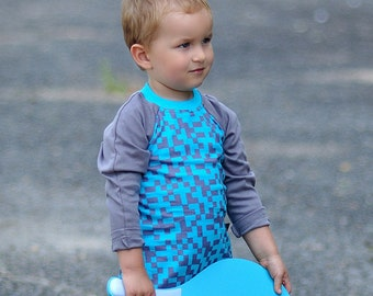 SALE Toddler long sleeve PIXELS Turquoise.Minecraft Gift. Kids Shirt. Geek TShirt.Pixel Shirt.Minecraft Shirt. Geek Toddler Gift
