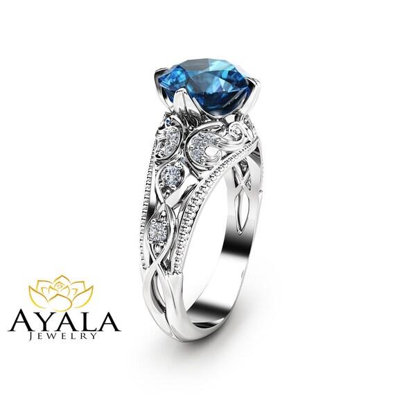 london blue topaz engagement ring 14k white gold alternative