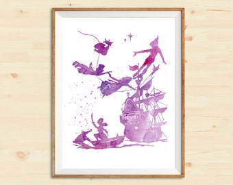 Peter Pan Flying | Watercolor art print | Wall decor | Home decor | Watercolor digital art | Wedding gift | Gift idea