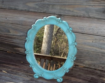 Vintage Vanity Table Mirror Turquoise Aqua Blue - Shabby Chic - Boho
