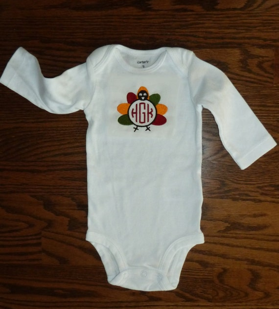 Items similar to Embroidered Baby Onesie w/ Turkey ...