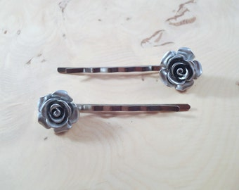 Hair pins, Silver linings, rose, hair slides, bobby pins, hair accessories, hair clips