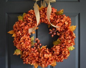 Autumn Orange Hydrangea Wreath with Berries | Fall Wreath | Fall Decor | Thanksgiving Decor | Fall Porch Decor | Front Door Wreaths