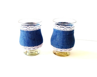 2 CANDLE HOLDERS -- Lace, denim and glass candle holders, handmade by SophieLDesign