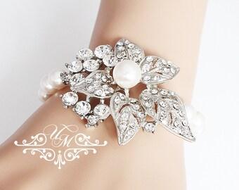 Wedding Jewelry Single Strand Swarovski Pearl Bracelet Rhinestone Leaf Bracelet Bridal Jewelry Bridal Bracelet Bridesmaids Bracelet - LILIAN