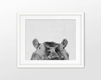 Peeking Hippo Art Print - Black And White Grayscale Art - Hippo Wall Art - White Linen Effect Photo Collage - INSTANT DOWNLOAD #2356